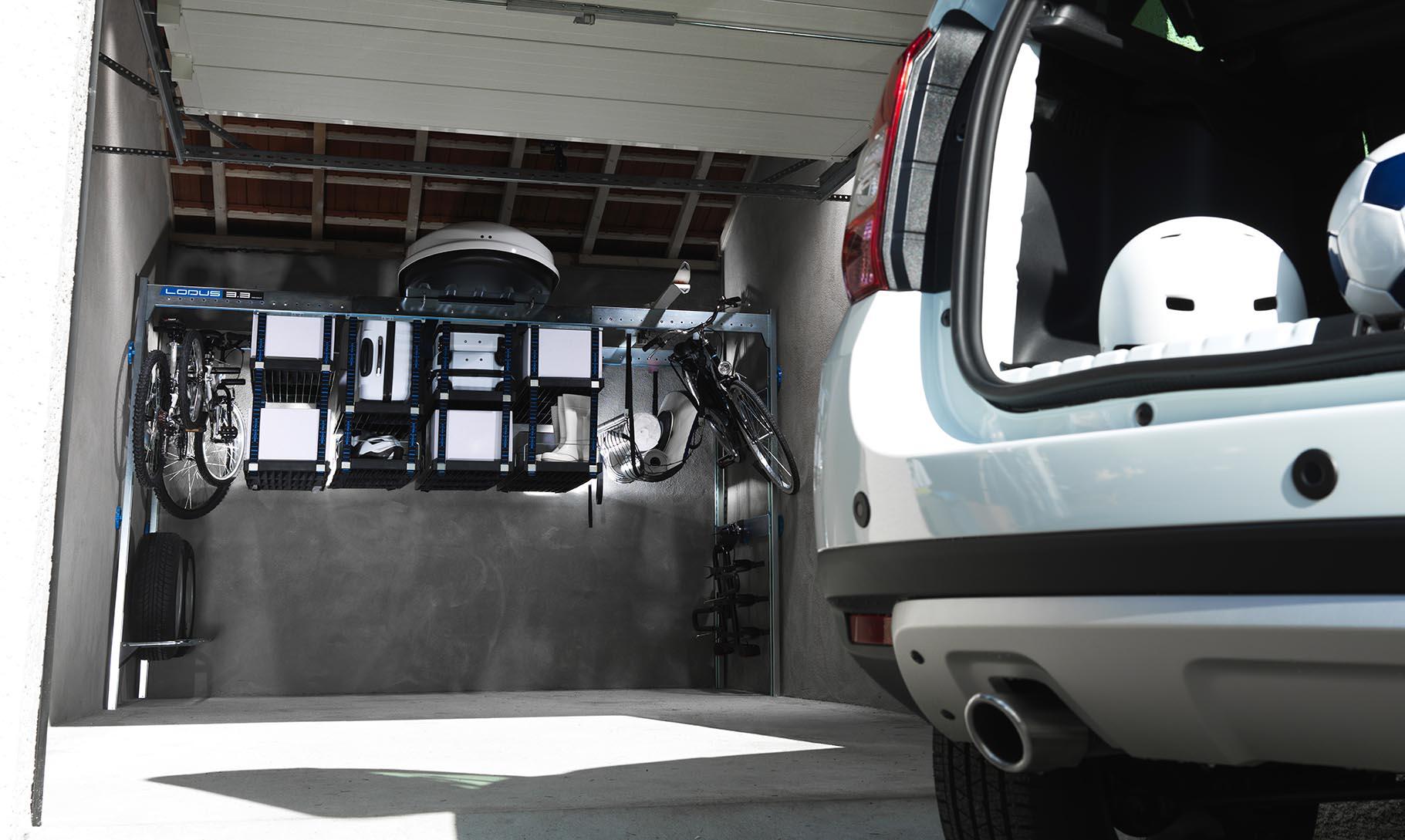 Garage optimisé avec Lodus qui laisse la place à votre voiture